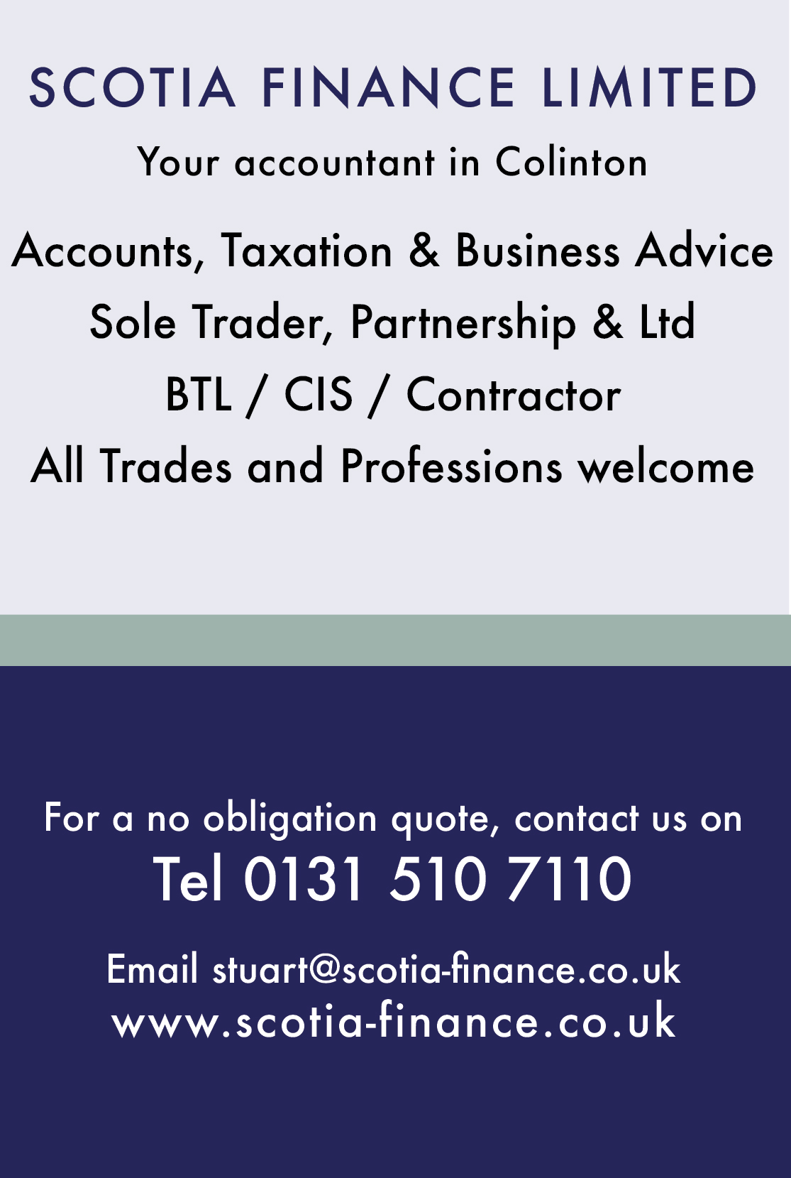 Scotia Finance Limited - your local accountant